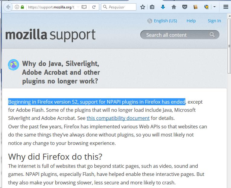 Estendendo a utilização do Java no Mozilla Firefox 52 0 para o Linux